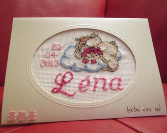 embroidered girl birth announcement