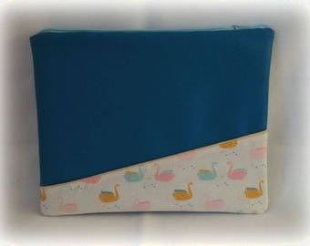 Computer blue leatherette cover duck and cotton