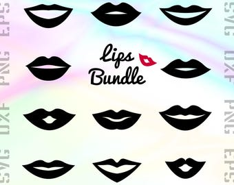 Lips SVG Files - Lips Dxf Files - Kiss Clipart - Kiss Cricut Files - Lips Cut Files - Lips Png - Lips Silhouette - Svg, Dxf, Png, Eps