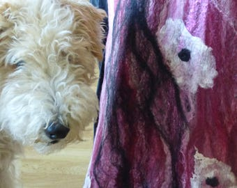 Magenta - Cobweb felted scarf - Wool and silk