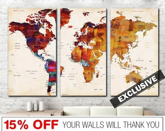 Exclusive World Map, Painting World Map, World Map, World Map Canvas, World Map Abstract, Abstract World Map, Unique World Map, Map Canvas