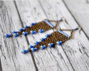 Long earrings blue and bronze.