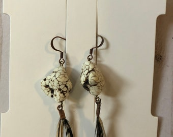 Natural stone + feather earrings