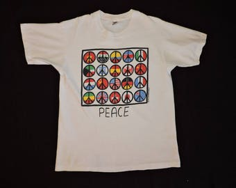 RARE Vintage 90s 1990 World Peace Sign T-shirt L Flag Rock N Roll Festival USA Hippie Activist