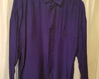 Vintage Structure Silk Button Up Long Sleeve Shirt