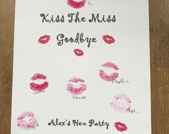 Kiss the miss personalised hen party print - bride keepsake game