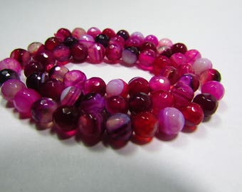 Set of 10 faceted pink Agate 6mm beads