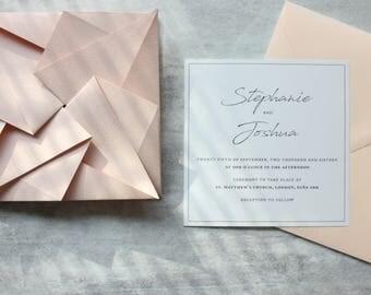 Blush Origami Wedding Invitation Suite - RSVP, Envelope, Details and Reception Cards - Handmade Origami Invitation Set