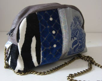 Small blue and gray bag with printing