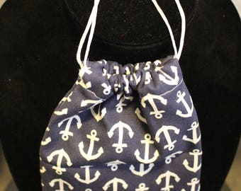 Navy Blue and White Anchor Drawstring Pouch/Dice Pouch/Card Pouch