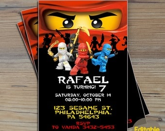 Instant Download-Ninjago Invitation,Ninjago Birthday,Ninjago Birthday Invitation,Ninjago Party