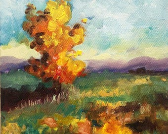 Tree in Field IV, original oil painting
