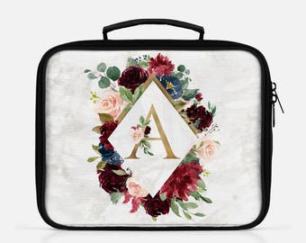 Personalized Lunch Bag Floral Back To School Monogrammed Monogram Lunch Box Monogram Lunch Tote Custom Monogram Lunchbox Flowers Gold Marble