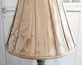 Pleated gold damask table lampshade modern classic traditional.