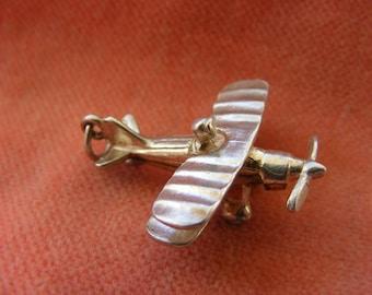 G) Vintage Sterling Silver Charm Bi-Plane