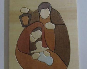 Holy Family mosaic multicolored wooden compound
