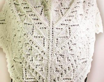 White triangular lace shawl, Hand knitted triangular shawl, Women's lace shawl