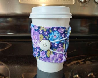 Reusable coffee cup sleeve , purple and blue floral coffee cozy