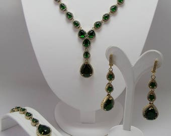 2 color bridal set silver jewelry sets, wedding sets, party, 925 sterling silver sets, prom, gift,
