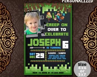 Minecraft Invitation, Minecraft Birthday, Minecraft Invite, Minecraft Party, Minecraft Birthday Invitation, Minecraft Party Invite, F0814