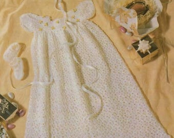 Baby Christening Dress, Shoes And Bonnet, Crochet Pattern. Instant Download.