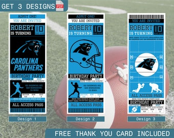 Carolina Panthers Birthday Invitation, Printable Ticket Party Invitation, Football Personalized Birthday Invite, Digital Files