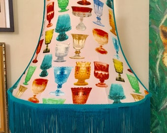 Large coloured glass digital print standard lampshade with teal fringe