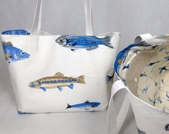 Tote bag Oversize white fish - blue marble, tote bag, course/computer bag, weekend bag, shopping/market, men, women gift gift bag