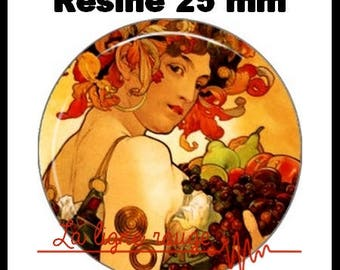 Round cabochon resin 25 mm - fruit paste Mucha (32) - Alphonse mucha