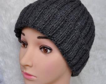 Hand knitted mens hat - grey winter hat.Warm Winter Hat, Wool Knit Hat, Grey Winter Hat