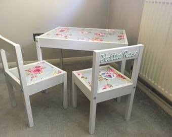 Personalised children's table and 2 chairs
