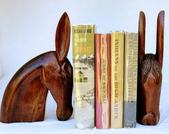 Carved Horse Head Bookends