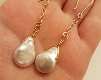 Coin Pearl earring 14K Gold Filled