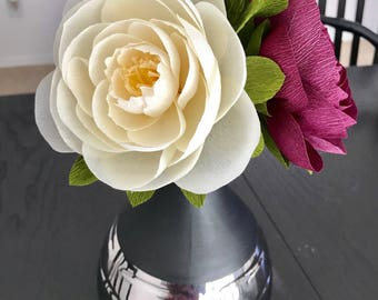 3 handmade crepe paper peonies for your Valentine