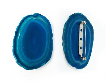 Blue Agate Crystal Pin / Brooch Pin / Agate Slice Crystal Jewelry / Blue Crystal Pin / Gem Pin / Crystal Brooch / Valentines Jewelry