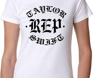 Ladies White New Taylor Swift Reputation REP Graphic T-Shirt Shirt Fashion Tee - Free Shipping