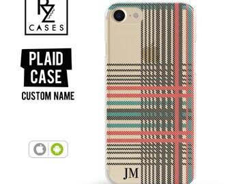 Plaid Phone Case, iPhone 7 Case, Personalized Case, iPhone 6s Plus, Tartan Phone Case, iPhone 6, iPhone 7 Plus, iPhone 6 Plus, Samsung Case