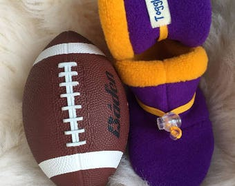 Minnesota Football, Purple and gold non-slip, soft sole shoe from Toggle Toes, preschool boy or girl 24-36 months or baby shoe size 7-8