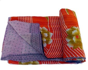 Twin Vintage Reversible Handmade Kantha Quilt Old Cotton Kantha Quilt Handmade Blanket cotton Reversible Kantha Quilt