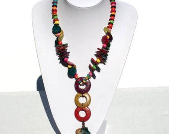 Chunky Wooden Beaded Necklace;  Handmade Necklace