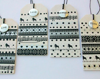 Christmas in Black & White Gift Tags