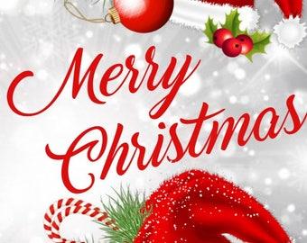 Christmas Card with Santa Hats and snow