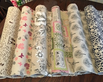 Cotton Linen Printed Fabric Curtains Upholstery Crafts Cushions Various Designs