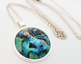 Abalone Seashell Necklace Glass Cabochon Jewelry Mermaid Pendant Blue Green Turquoise Photo Peacock