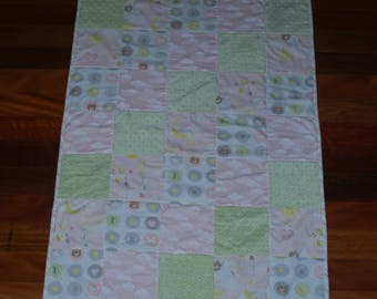Pink and Green Patchwork Cot Quilt