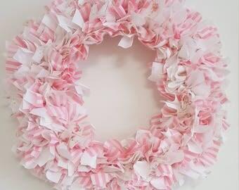 Vinatge Pink and White Fabric Wreath
