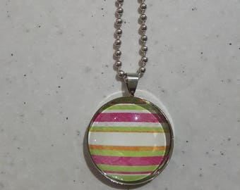 Silver Striped Pendant Necklace