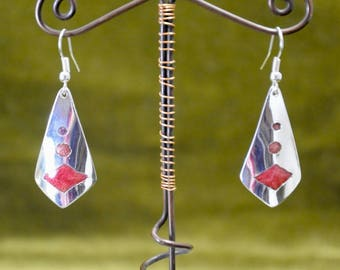 Enamel Earrings: media Champ, silver, Red