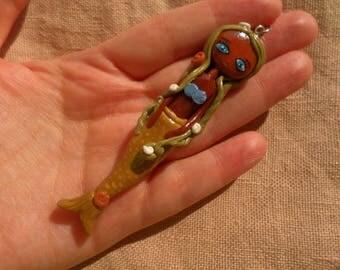 African American Mermaid, Cute Mermaid Necklace, Black mermaid jewelry, African mermaid, Sea Gifts, Mermaid Gifts, Mermaid jewelry gift