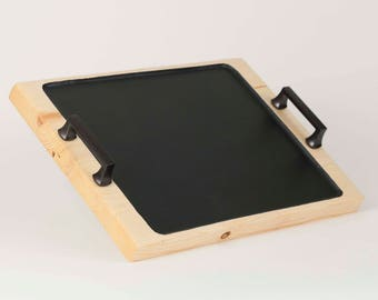 Wood Tray, Wooden Tray, Wood Serving Tray, Chalkboard Serving Tray, Ottoman Tray, Rustic Home Decor, 5th Anniversary Gift for Her, Wedding